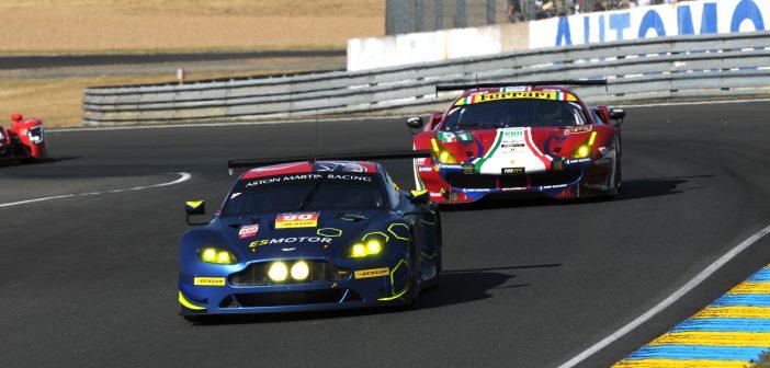 Aston Martin Vantage et Ferrari 488 GTE aux 24 Heures du Mans 2017