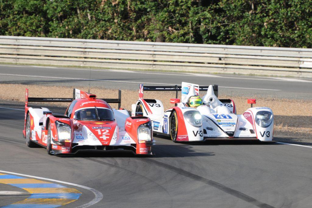 Rebellion R-One du Rebellion Racing lors des essais des 24 Heures du Mans 2014