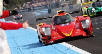 L'Oreca 07 du Racing Engineering franchit la ligne d'arrivée en tête des 4 Heures du Castellet