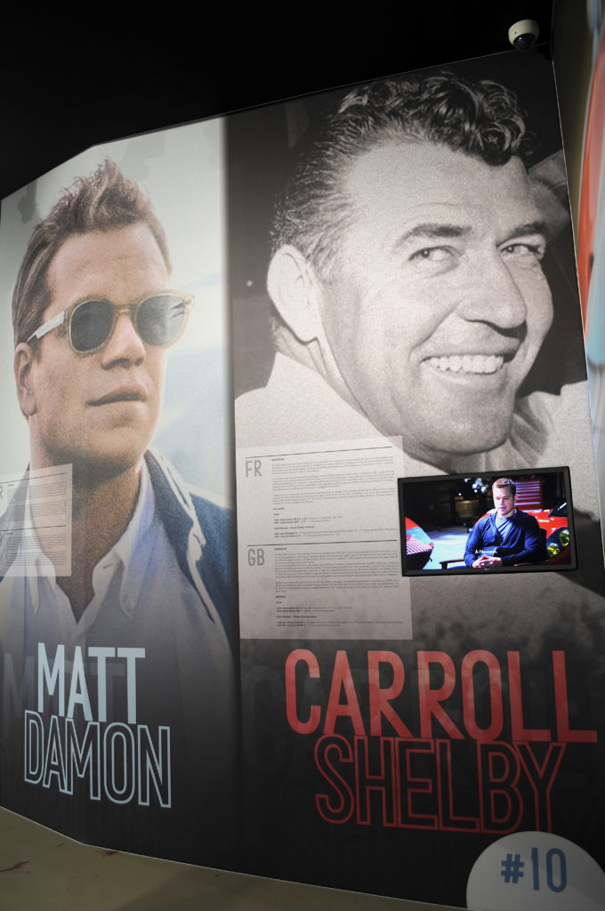 Panneau Carroll Shelby Matt Damon exposition Le Mans 66